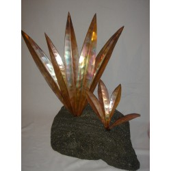 Ancient garden copper & pumice sculpture