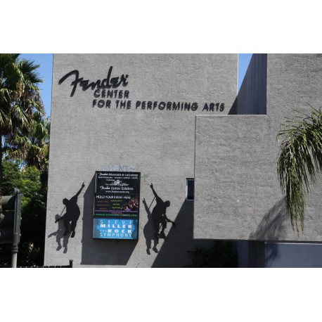 Outdoor marquee with Silhouette standoffs at Fender museum in corona california