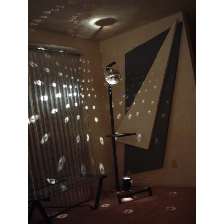 15 degree tilted floor lamp with mirror ball