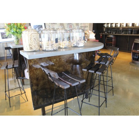 Complete demo desk with bar stools and wine barrels