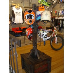 Custom wood helmet display for Troy Lee Designs