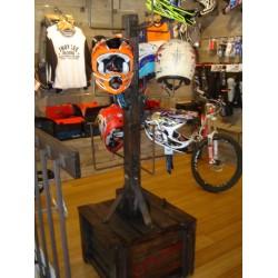 Custom wood helmet display for Troy Lee Designs