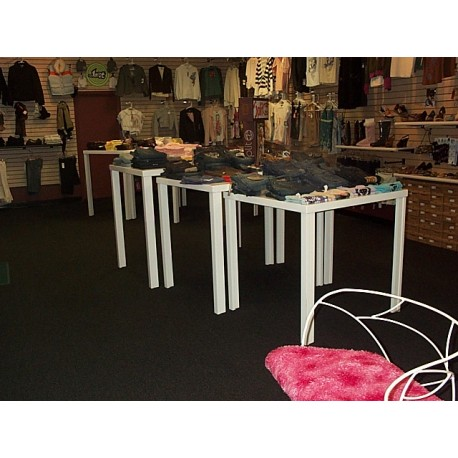 Nesting white table for product display