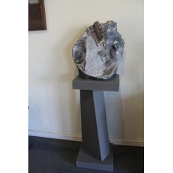 Stone sculpture with steel stand