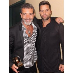 Antonio Banderas and Ricky Martin accepting an award